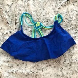 Blue Razor back Bathing Suit Top